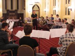 Rehearsing Cascade at Durham University with NYO